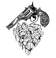 pistol tattoo and flower as a heart style vector image