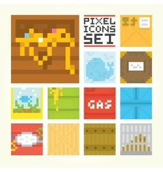 Pixel art square icons set vector image vector image