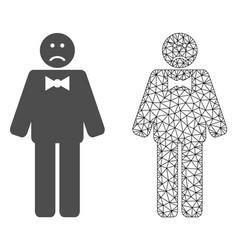 Polygonal mesh sad man and flat icon vector