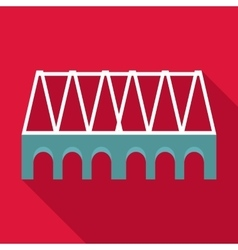 Railway bridge icon flat style vector