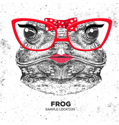 Retro hipster animal frog hand drawing muzzle vector