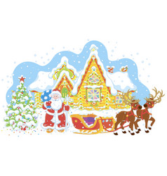 santa with gifts and his sledge vector image