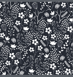 seamless floral pattern with white flowers and vector image