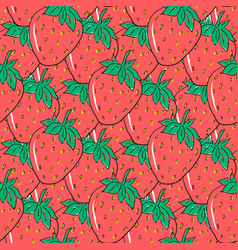 seamless pattern with red hand drawn strawberries vector image