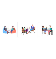 set businespeople colleagues discussing during vector image