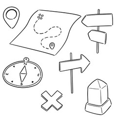 Set map compass direction post and milestone vector