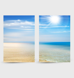Set of two banners with summer background of ocean vector