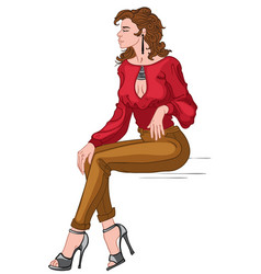 Sexy brunette in red blouse brown pants and gray vector