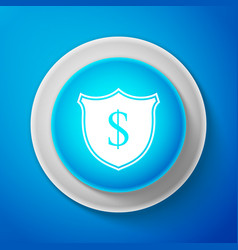 Shield and dollar icon isolated on blue background vector