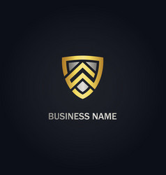 shield safe protect company gold logo vector image