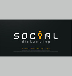 social distancing logo design concept for corona vector image