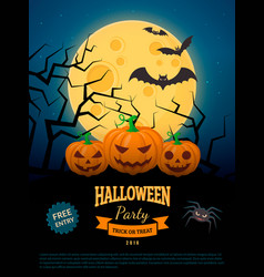 spooky pumpkins on cemetery vector image
