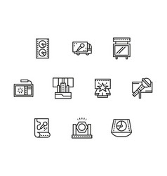 Stage elements black line icons set vector