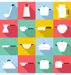 Tableware icons set flat style vector image