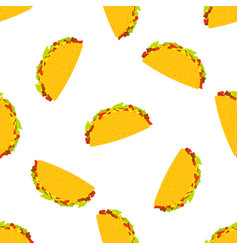 Tacos seamless pattern mexican taco in wheat vector
