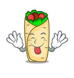 Tongue out burrito mascot cartoon style vector