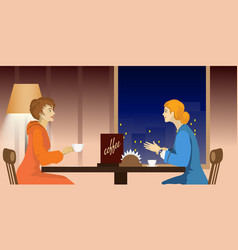 Two women talking in a cafe vector