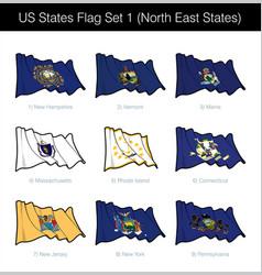 Us states flag set - north east vector