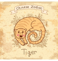 Vintage card with Chinese zodiac Tiger vector