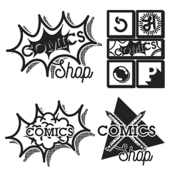 Vintage comics shop emblems vector