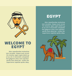 Welcome to egypt vertical posters with bedouin and vector