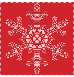 Winter pattern in snowflake shape on red vector