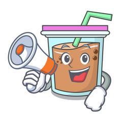 With megaphone bubble tea character cartoon vector