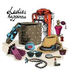 Womens accessories from open gift box vector