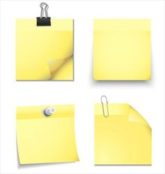 Yellow sticky blank notes with office supplies vector