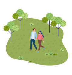 young couple walks in park holding hands walking vector image