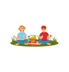young family couple having picnic at nature vector image
