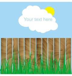fence wood grass cloud sun sign here your text vector image vector image