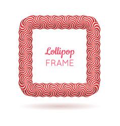 lollipop red square frame vector image vector image