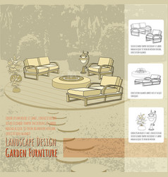 lounge chairs lantern fountain and flowers in vector image