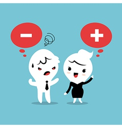 Positive and Negative thinking cartoon vector image