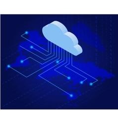 Bitcoin in cloud Bitcoin mining isometric flat vector image vector image