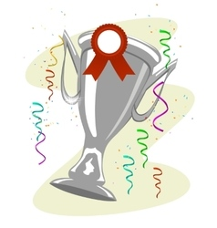 cup trophy with a ward ribbon pinned to it vector image vector image