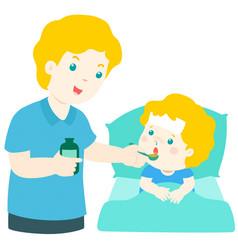 Father giving son medicine vector