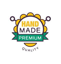 handmade premium quality logo template retro vector image vector image