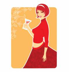 red girl vector image vector image