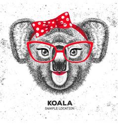 retro hipster animal koala hand drawing muzzle vector image