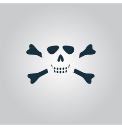 Cartoon skull with bones icon vector image vector image