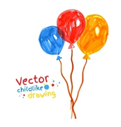 Felt pen childlike drawing of balloons vector image vector image