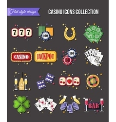 Set of colorful modern gambling icons casino vector image vector image