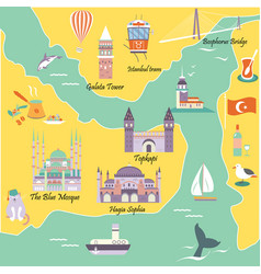 Tourist map with famous landmarks of istanbul vector