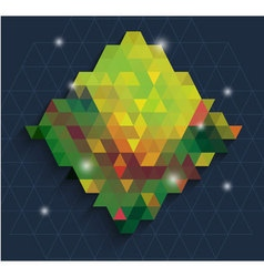 Triangle in Green dianmond with bling background vector image