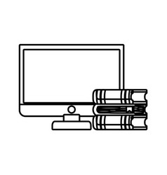 computer desktop with ebooks isolated icon vector image vector image