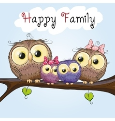 Happy Owls Family vector image