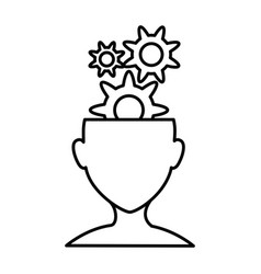 Human profile with gears vector