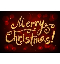 Merry Christmas golden glitter sign at dark red vector image vector image